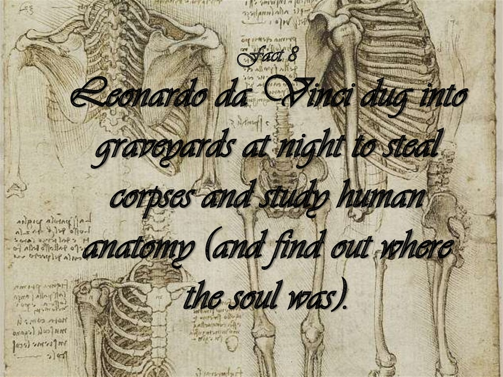 Fact 8 Leonardo da Vinci dug into graveyards at night to steal corpses and study human anatomy (and find out where the soul