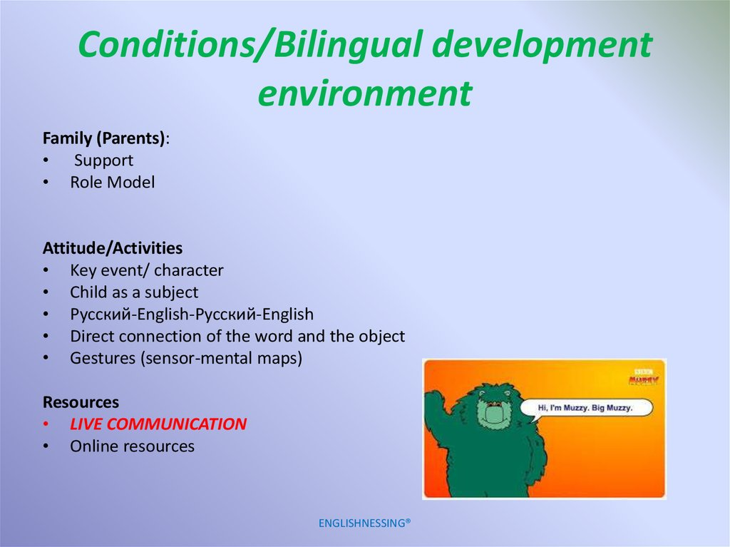 Conditions/Bilingual development environment