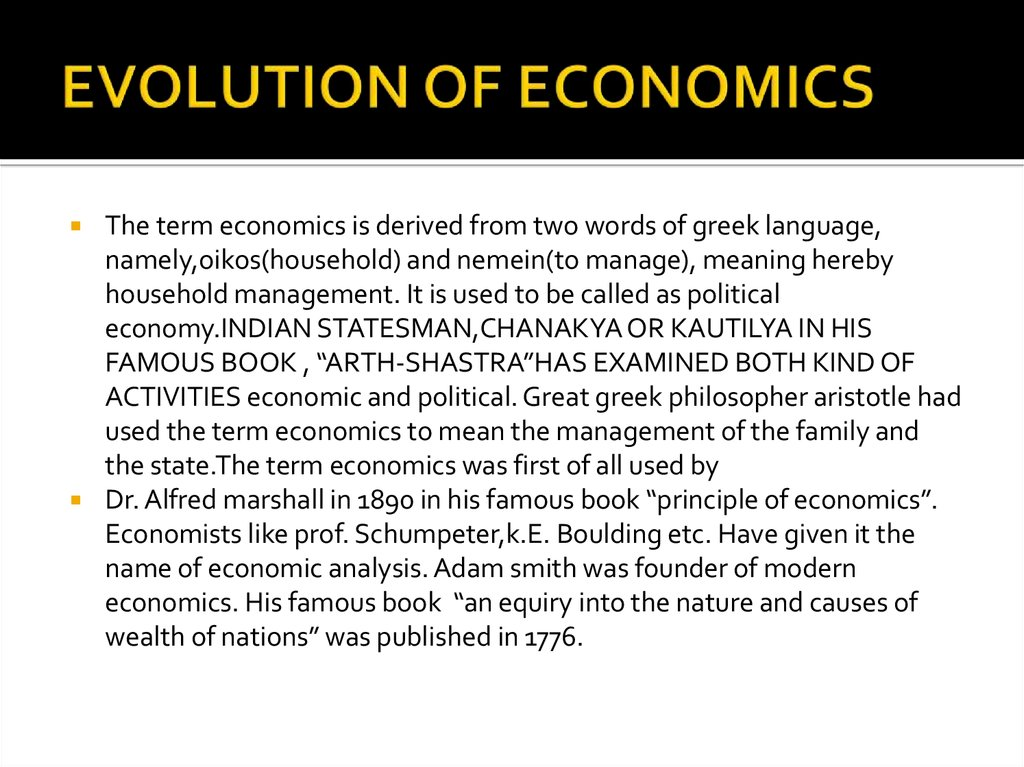 EVOLUTION OF ECONOMICS
