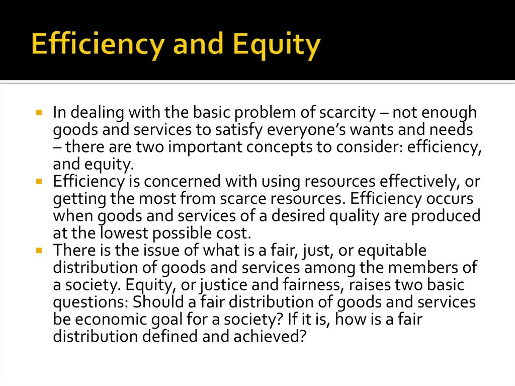 Efficiency and Equity