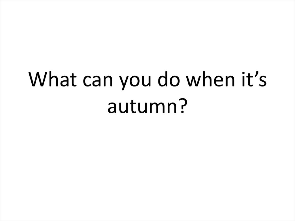 What can you do when it's autumn?