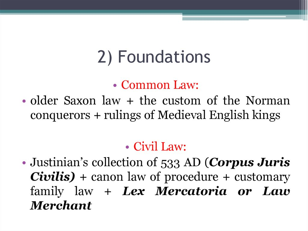 2) Foundations