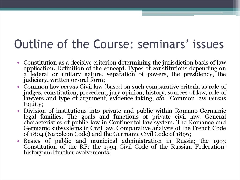 Outline of the Course: seminars' issues
