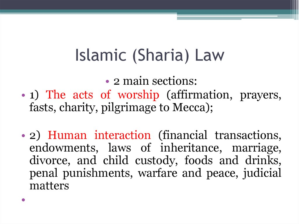 Islamic (Sharia) Law