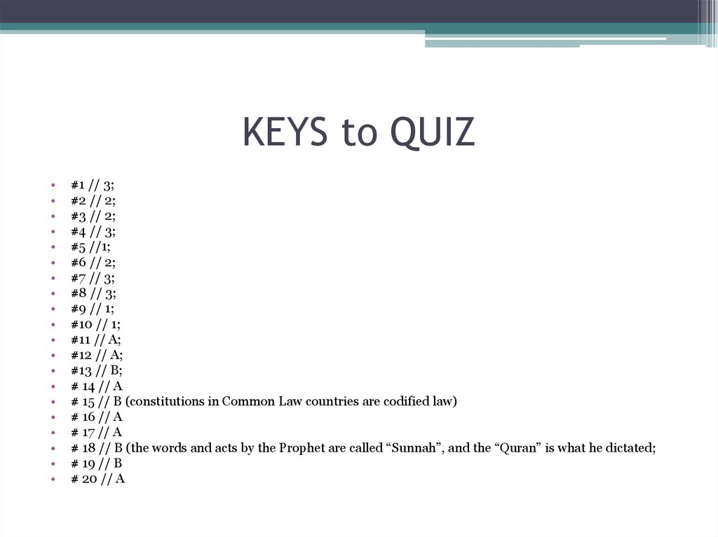 KEYS to QUIZ