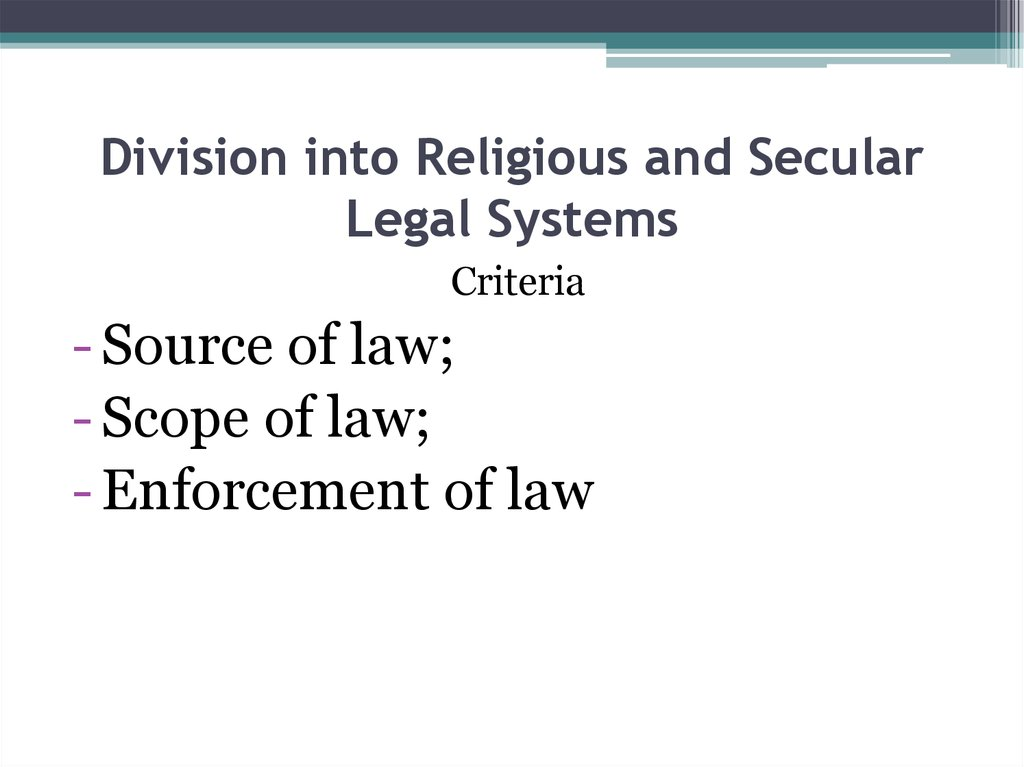 Division into Religious and Secular Legal Systems