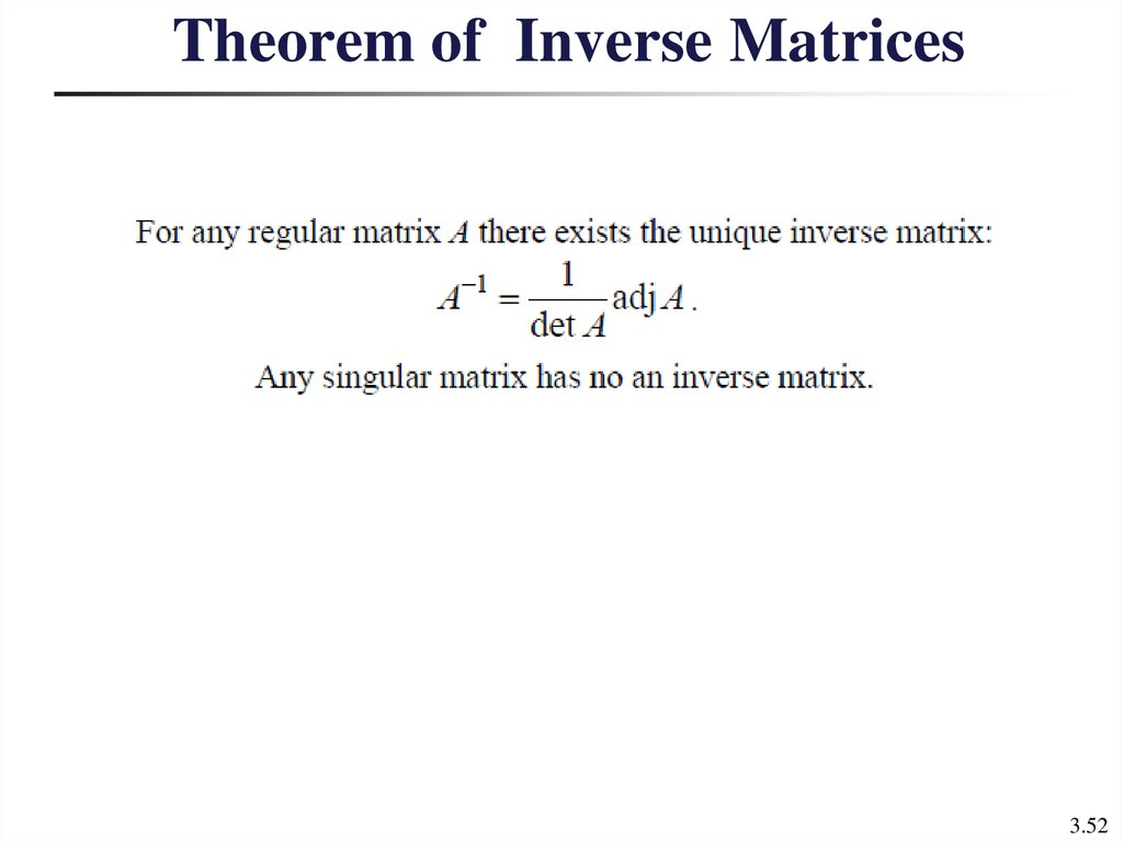 Theorem of Inverse Matrices