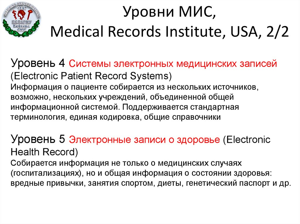 Уровни МИС, Medical Records Institute, USA, 2/2