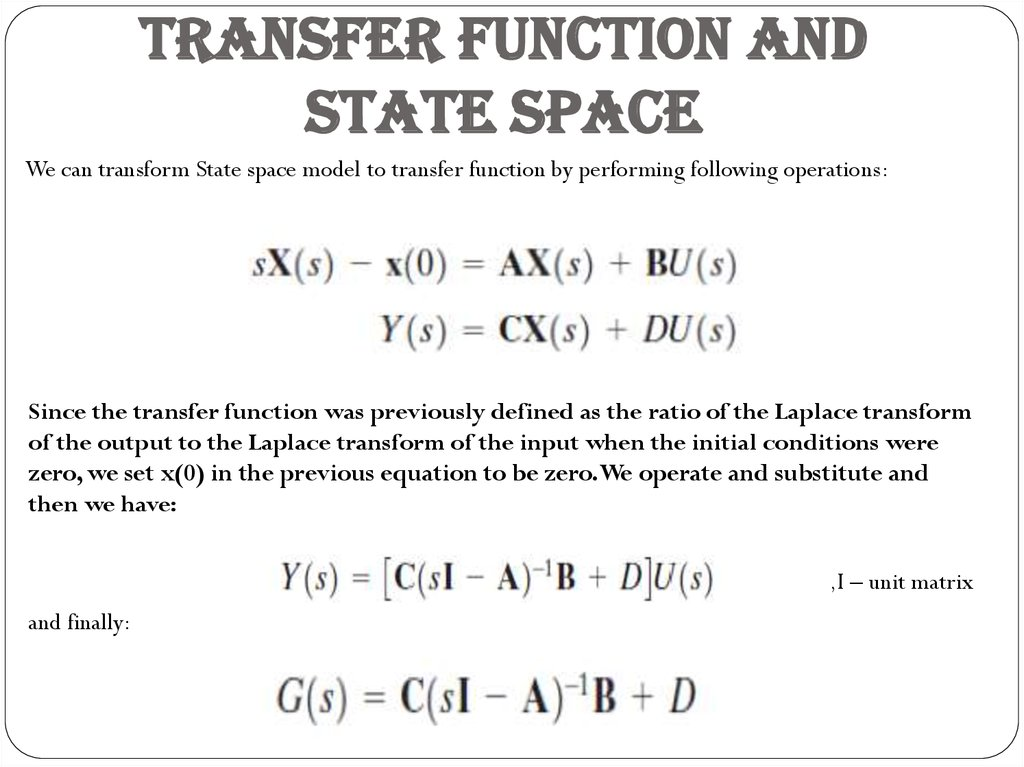 TRANSFER FUNCTION AND STATE SPACE