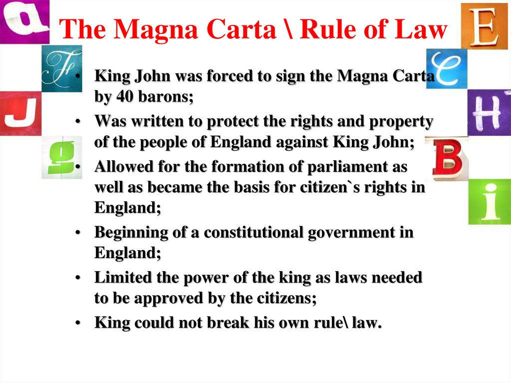 The Magna Carta \ Rule of Law