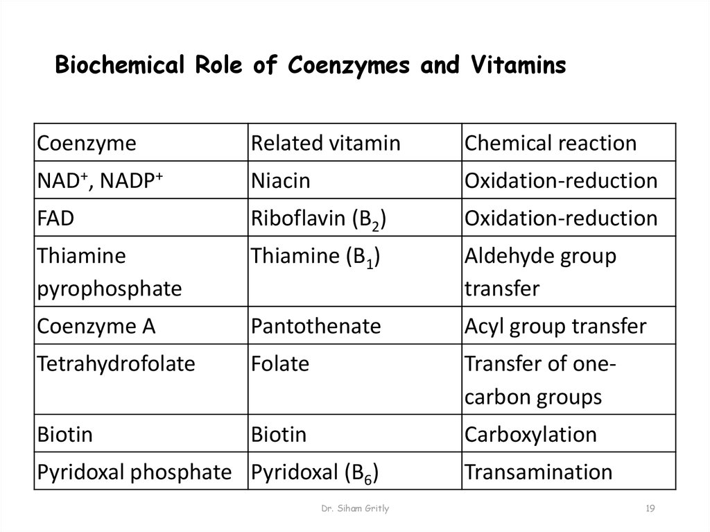 Biochemical Role of Coenzymes and Vitamins