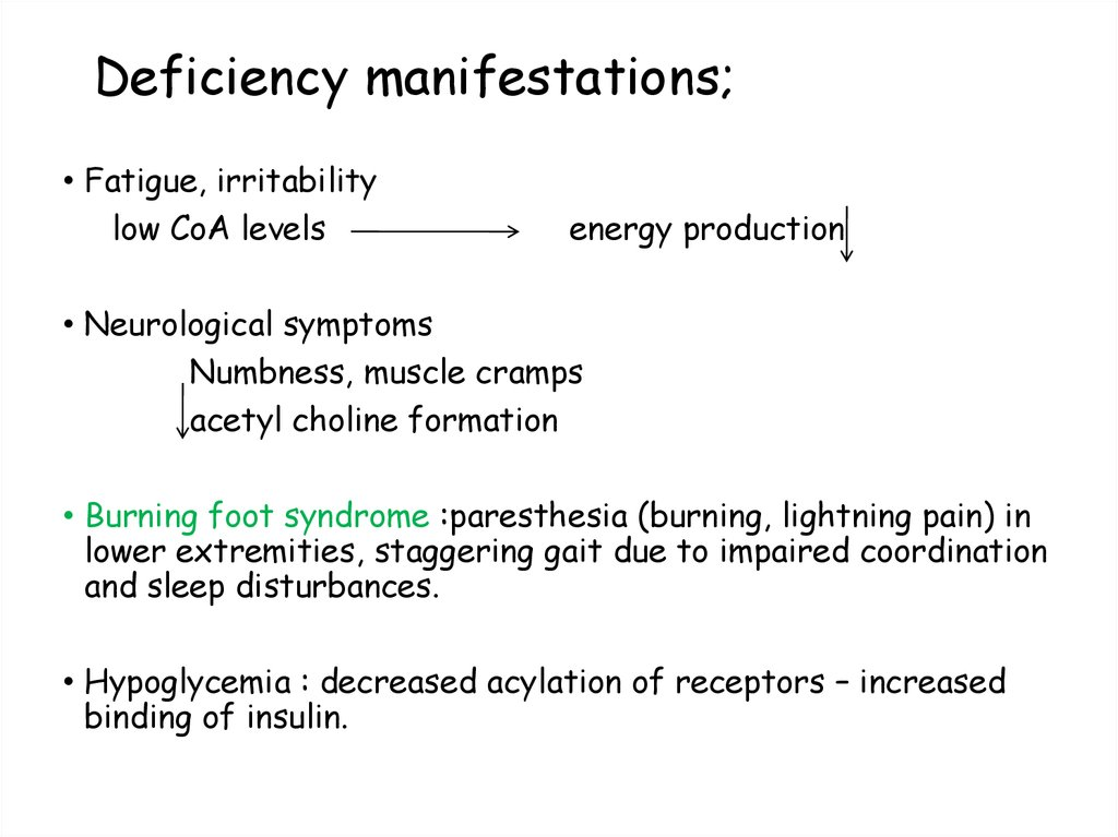 Deficiency manifestations;