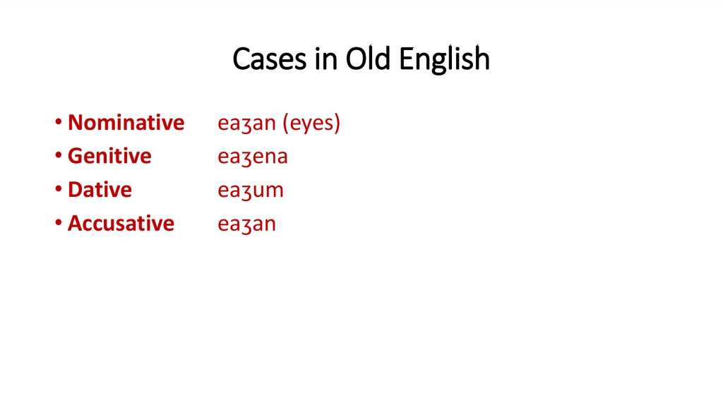 Cases in Old English