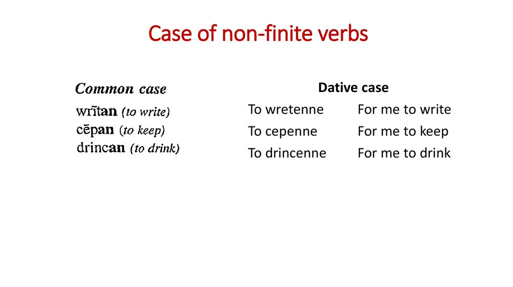 Case of non-finite verbs