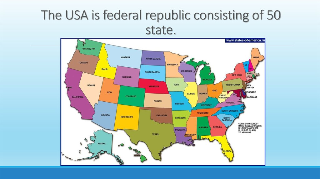 The USA is federal republic consisting of 50 state.