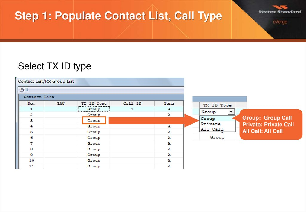Step 1: Populate Contact List, Call Type
