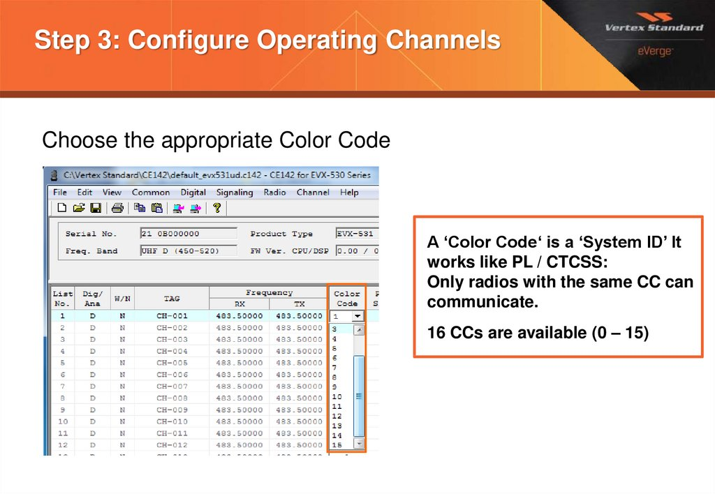 Step 3: Configure Operating Channels