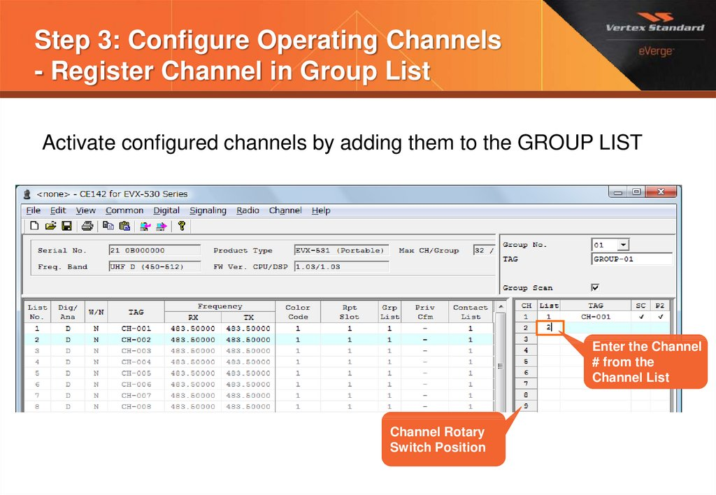 Step 3: Configure Operating Channels - Register Channel in Group List