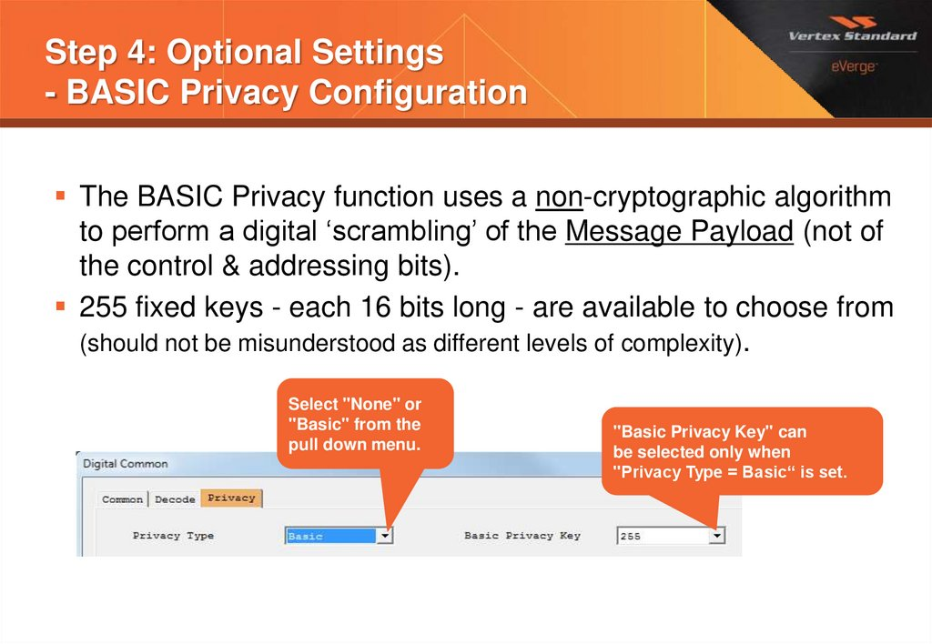 Step 4: Optional Settings - BASIC Privacy Configuration
