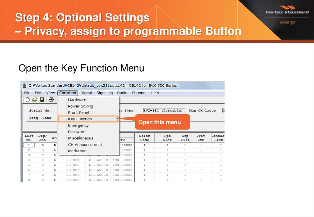Step 4: Optional Settings – Privacy, assign to programmable Button