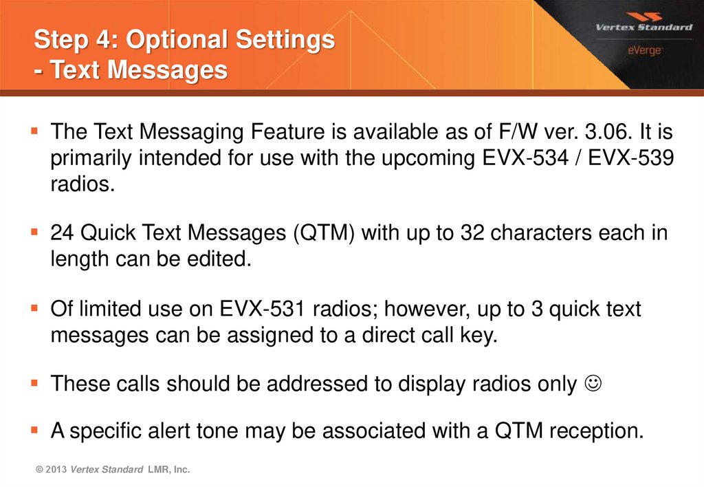 Step 4: Optional Settings - Text Messages