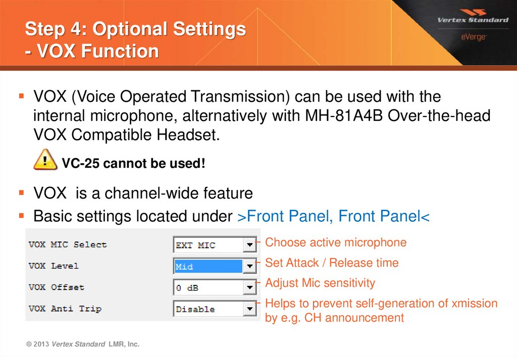 Step 4: Optional Settings - VOX Function