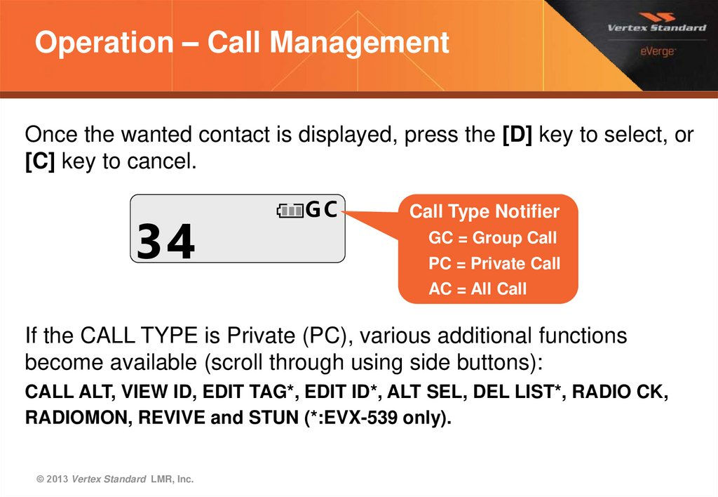Operation – Call Management