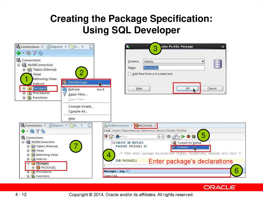 Creating the Package Specification: Using SQL Developer