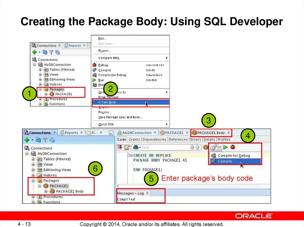 Creating the Package Body: Using SQL Developer
