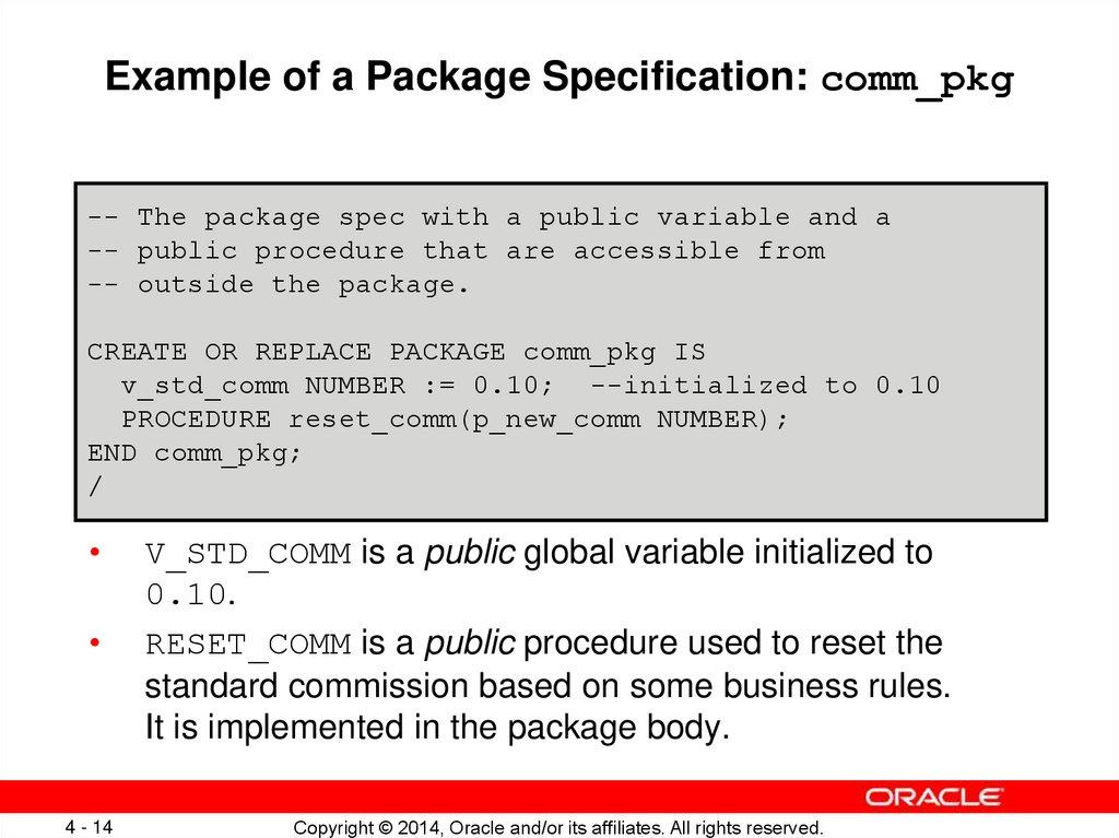 Example of a Package Specification: comm_pkg