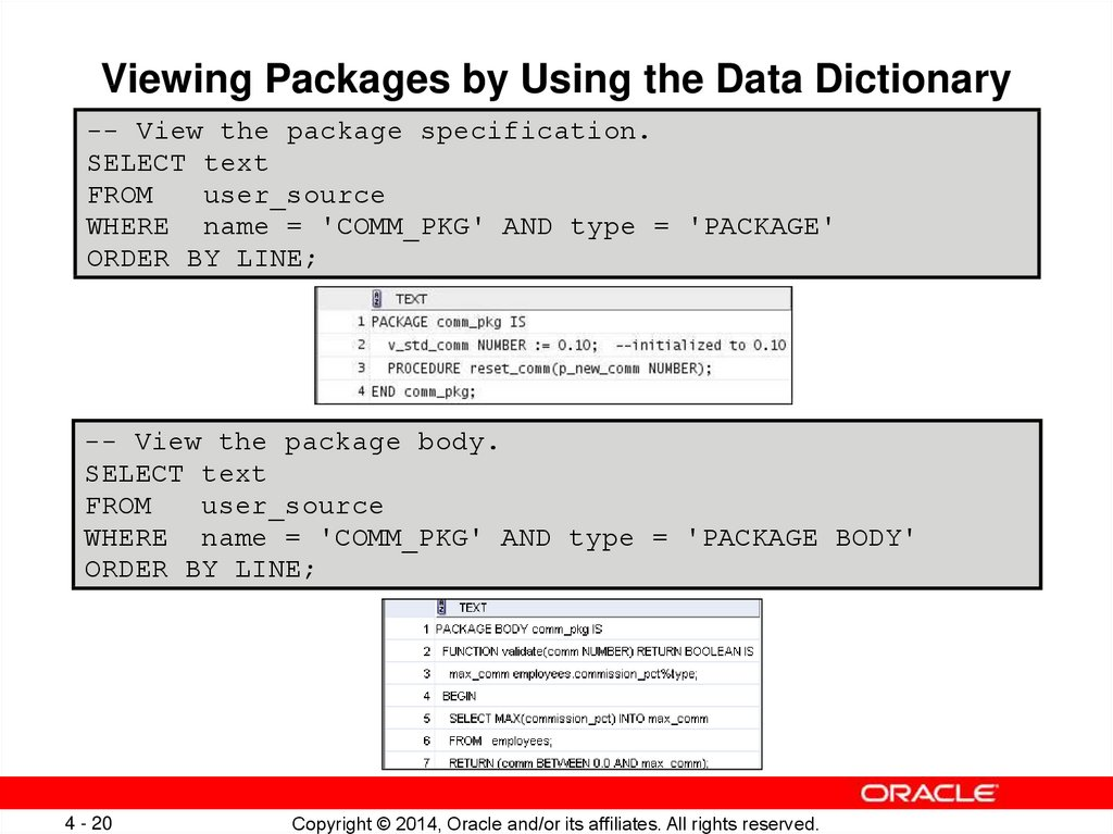 Viewing Packages by Using the Data Dictionary