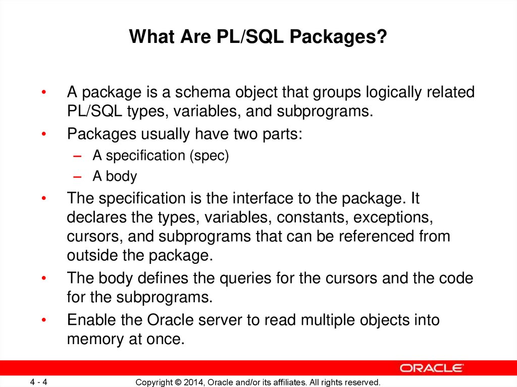 What Are PL/SQL Packages?