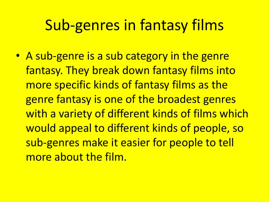 Sub-genres in fantasy films