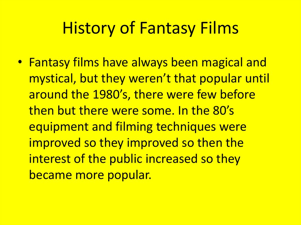 History of Fantasy Films