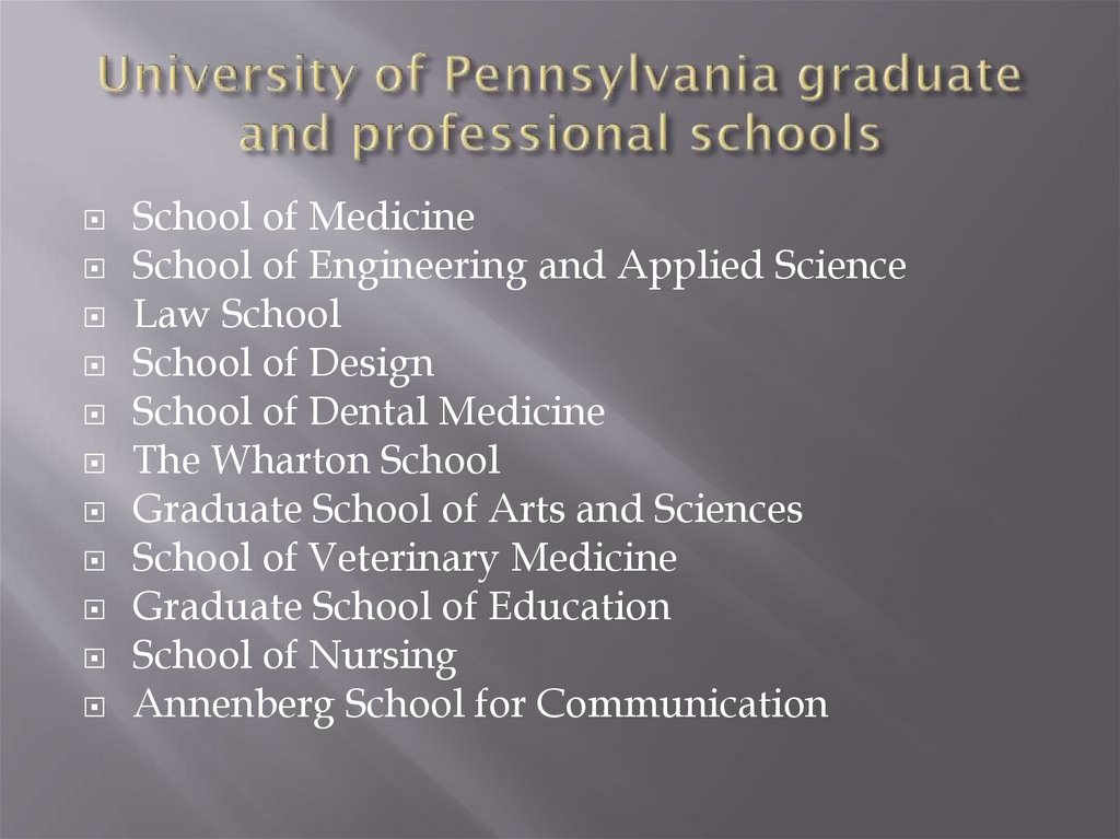 University of Pennsylvania graduate and professional schools