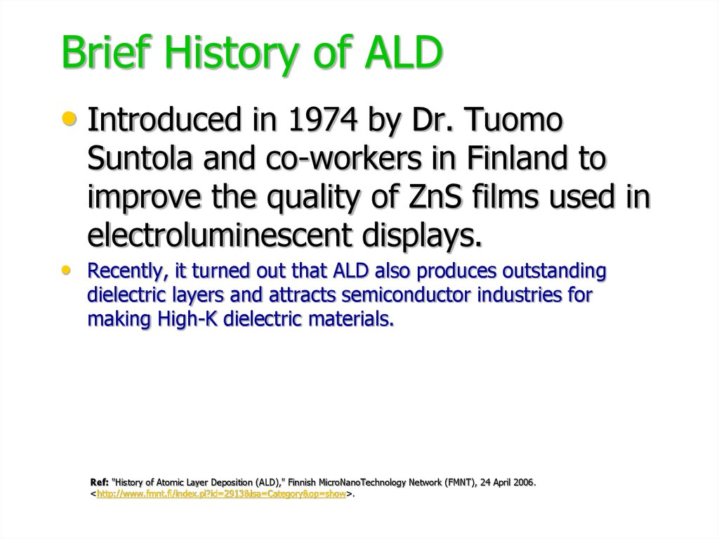 Brief History of ALD
