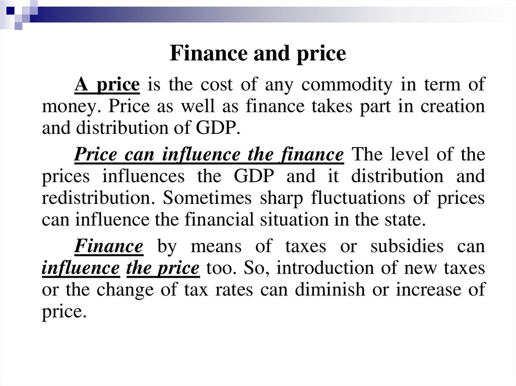 Finance and price