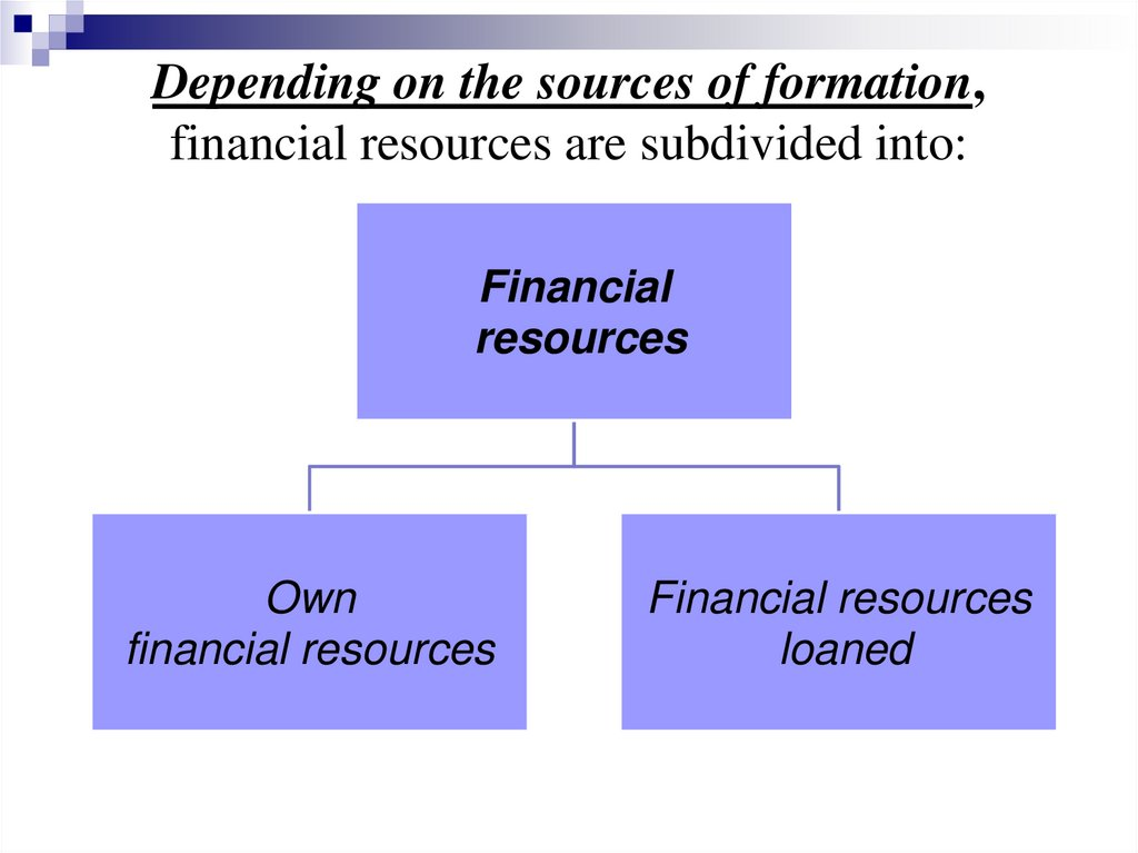 Depending on the sources of formation, financial resources are subdivided into: