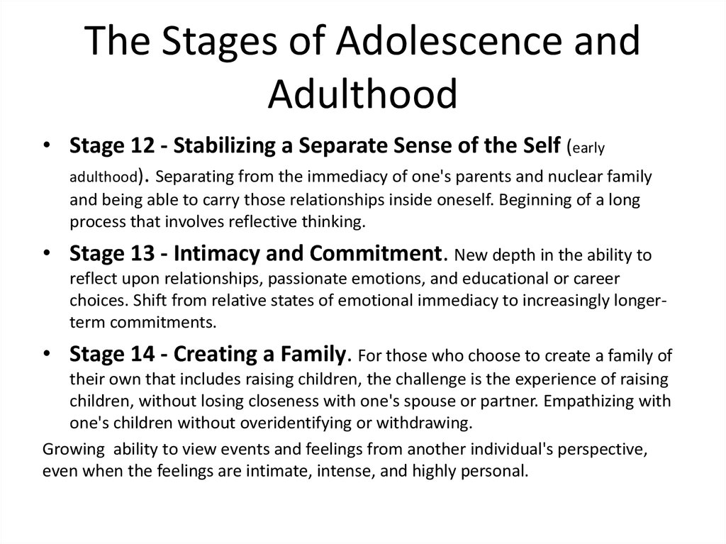 The Stages of Adolescence and Adulthood