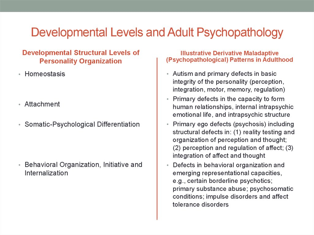 Developmental Levels and Adult Psychopathology