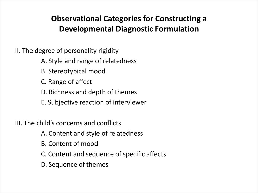 Observational Categories for Constructing a Developmental Diagnostic Formulation