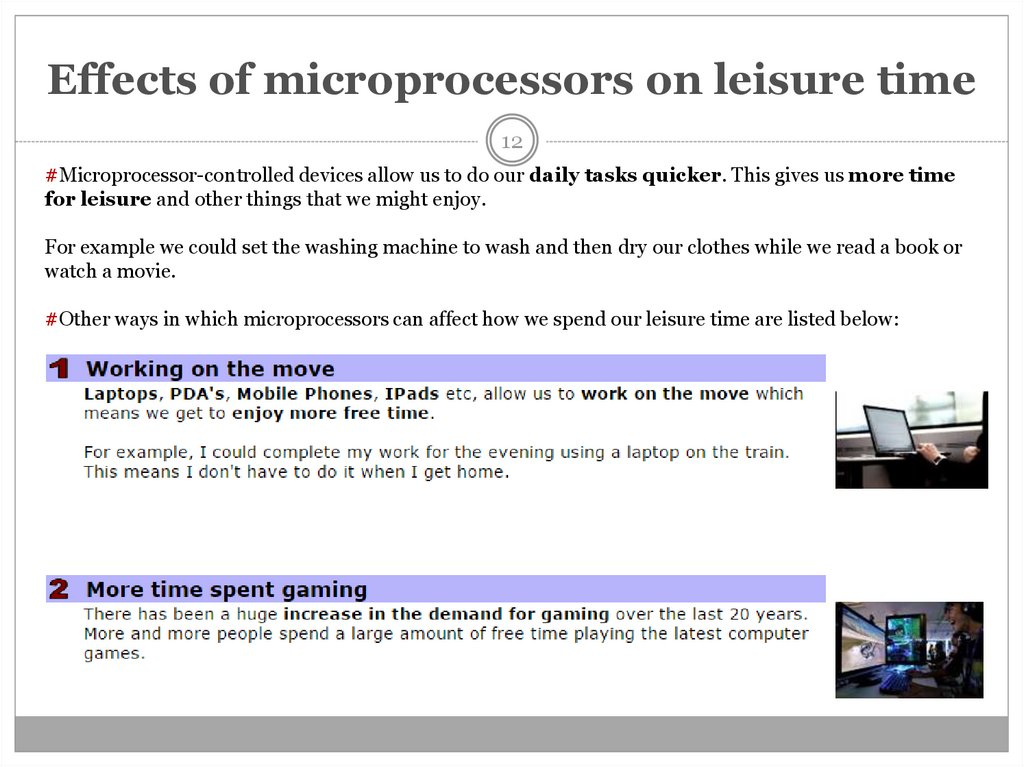 Effects of microprocessors on leisure time