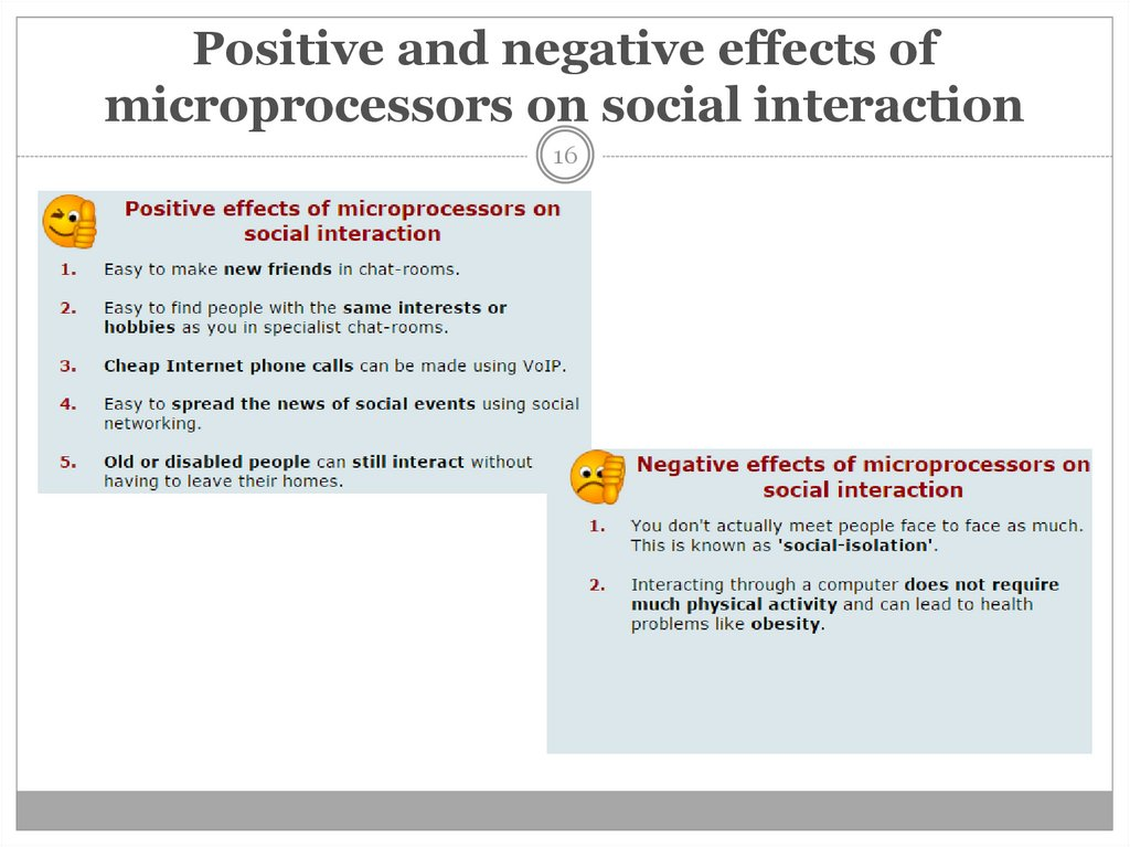 Positive and negative effects of microprocessors on social interaction