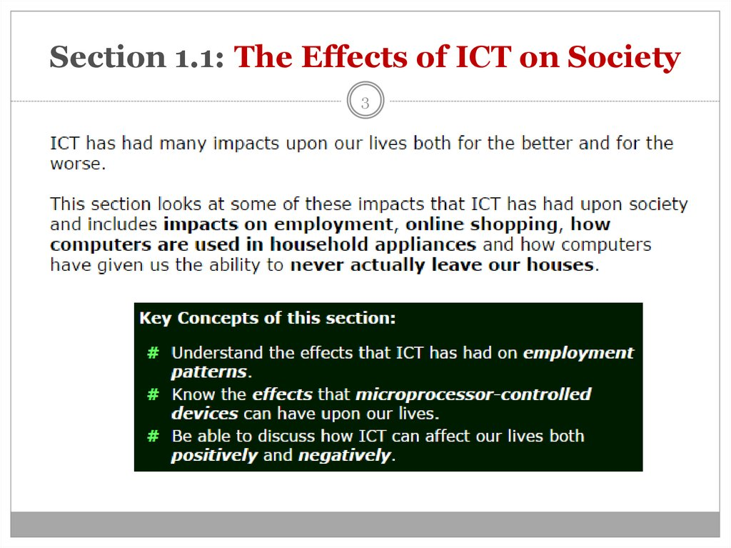 Section 1.1: The Effects of ICT on Society