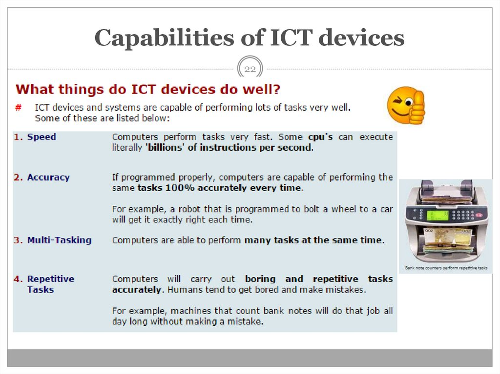 Capabilities of ICT devices