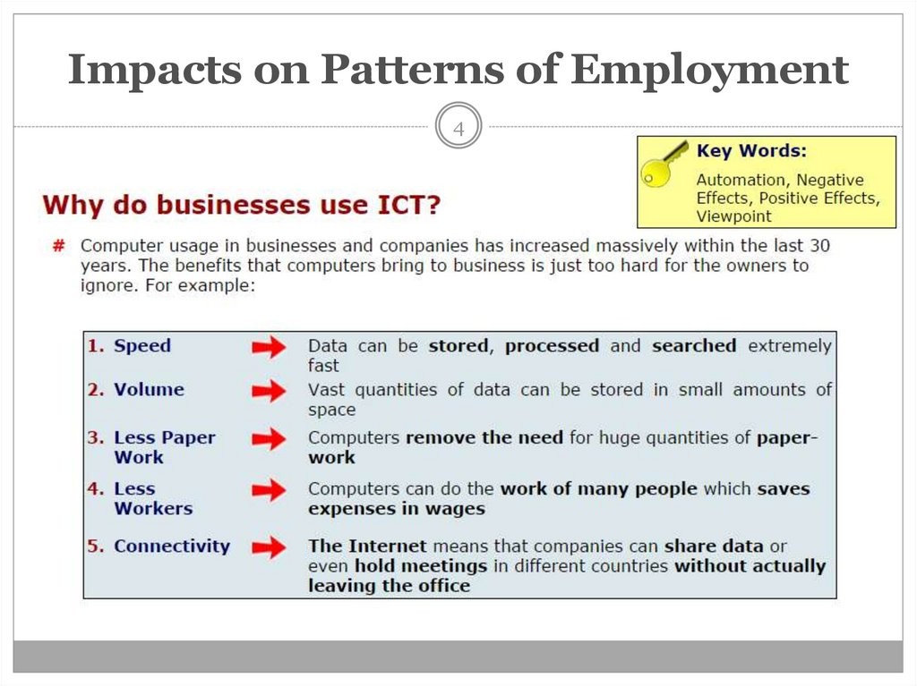 Impacts on Patterns of Employment