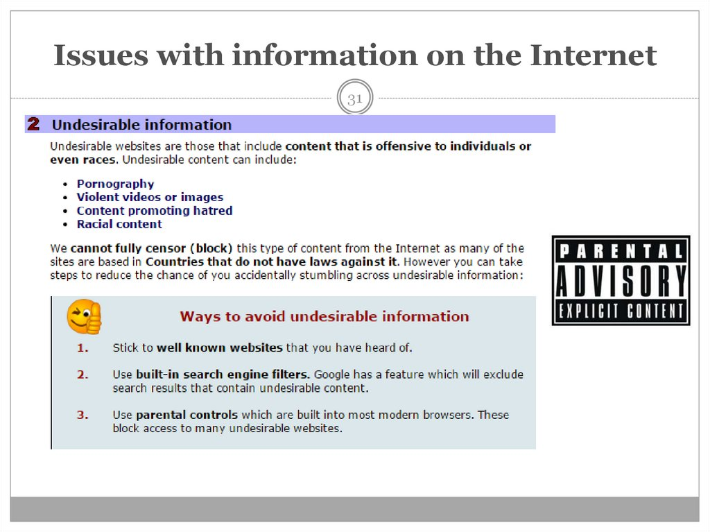 Issues with information on the Internet