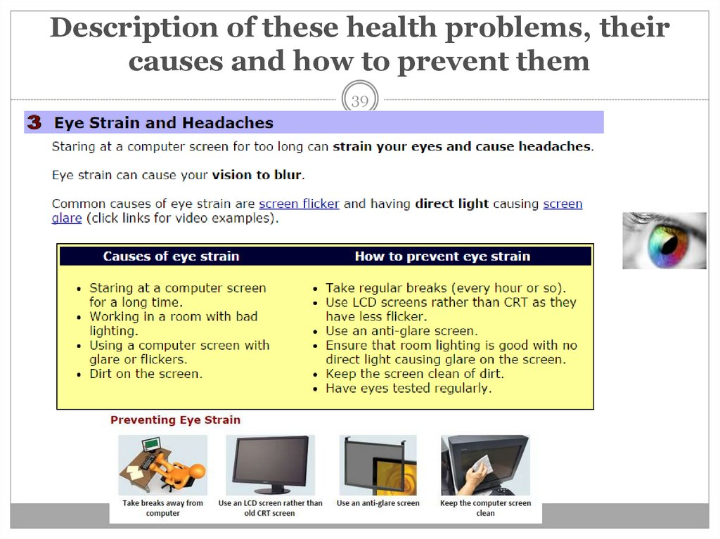 Description of these health problems, their causes and how to prevent them