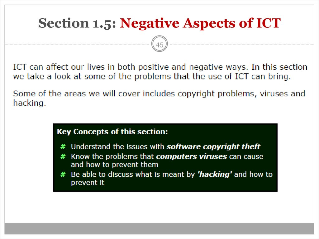 Section 1.5: Negative Aspects of ICT
