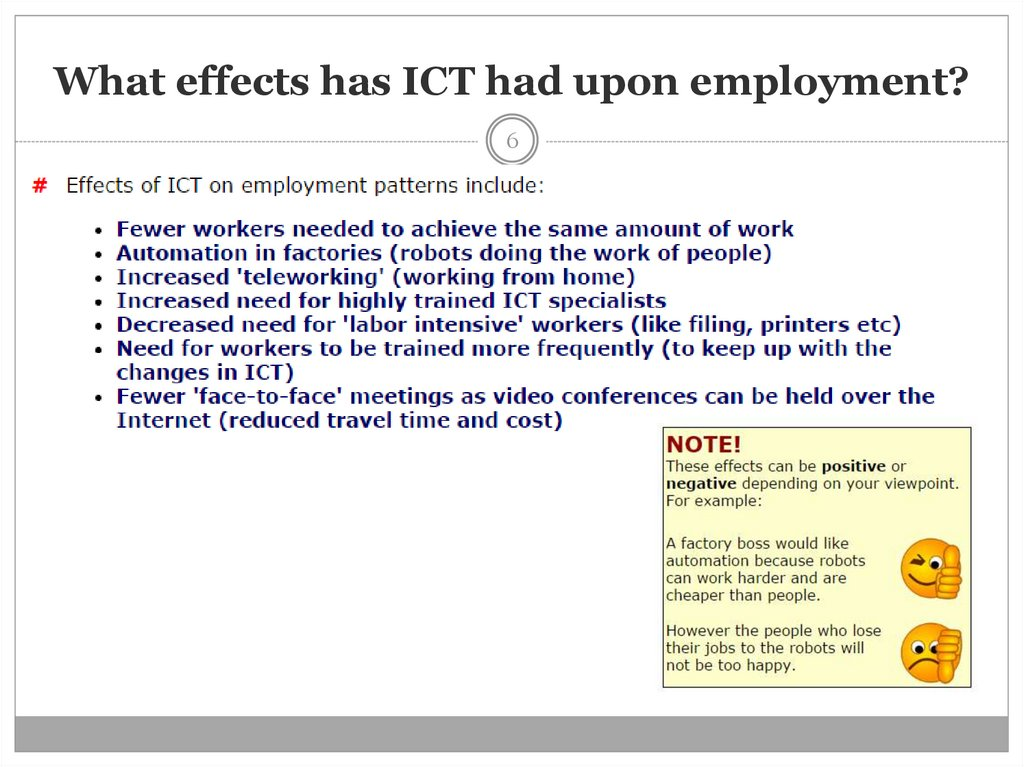 What effects has ICT had upon employment?